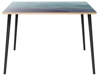 """Wrought Studioâ""""¢ Conwell Dining Table Wrought Studioa Table Top Boarder Color: Natural, Table Base Color: Black, Table Top Color: Blue"""