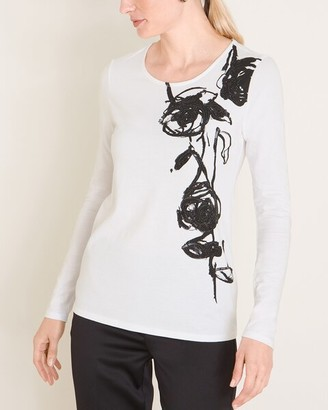 Chico's Floral Sequin and Embroidery Tee