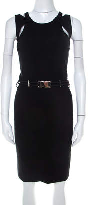 Gucci Black Cut Out Detail Belted Sheath Dress S