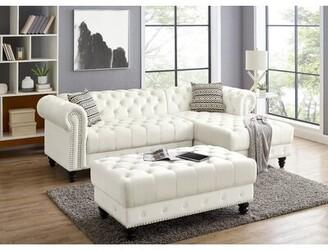 "Rosdorf Park Omari 97"" Velvet Right Hand Facing Modular Sofa & Chaise with Ottoman Fabric: White"