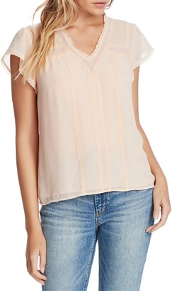 1 STATE Sheer Yoke Lace Trim Blouse