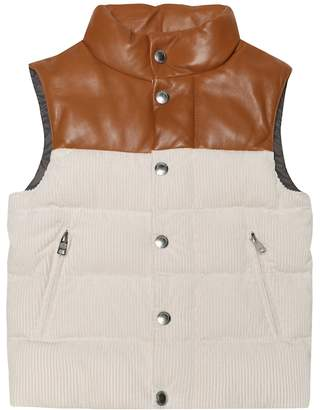 Brunello Cucinelli Kids Leather and corduroy vest