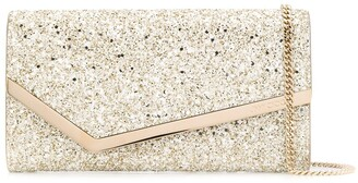 Jimmy Choo Emmie glitter-embellished clutch bag
