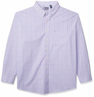 Izod Men's Big & Tall Big and Tall Button Down Long Sleeve Stretch Performance Plaid Shirt