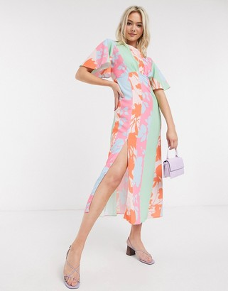 John Zack scarf print midaxi dress in multi print