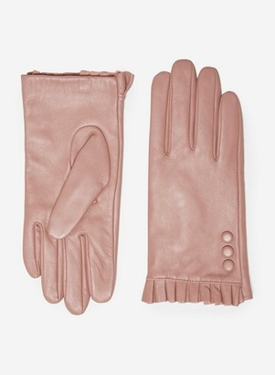 Dorothy Perkins Womens Blush Button Frill Leather Gloves
