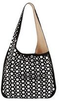 Elizabeth and James Finley Courier Studded Suede Hobo Bag, Black