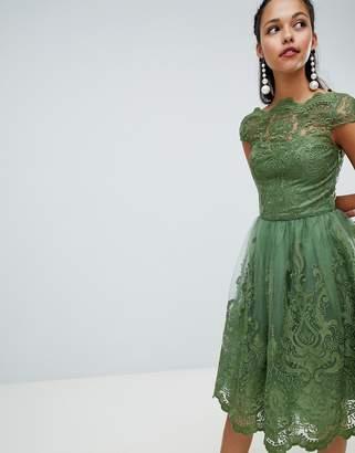 Chi Chi London premium lace midi dress with cap sleeve-Green