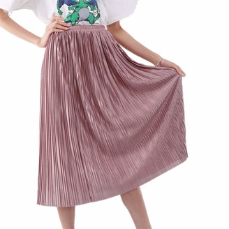 CHRONSTYLE Women's Long Pleated Skirt Double Layer Pleated Retro Elastic Waist Casual Classical Bright Skirt (Dark Green One Size)