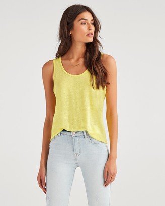 7 For All Mankind Scoop Neck Tank Sunflower