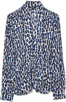 Derek Lam Long Sleeve Blouse with Scarf Neck in Blue Multi