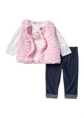 Little Me Chevron Faux Fur Vest Set (Baby Girls)