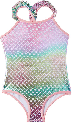 Pink Platinum Girls' One Piece Swimsuits CORAL - Coral & Green Iridescent Foil Mermaid Ruffle-Trim One-Piece - Toddler & Girls