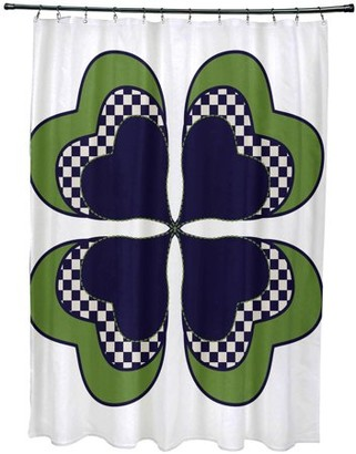 "Simply Daisy 71"" x 74"" 4 Leaf Clover Holiday Floral Print Shower Curtain"