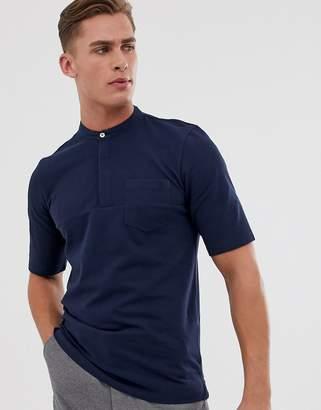 Jack and Jones grandad collar t-shirt in navy