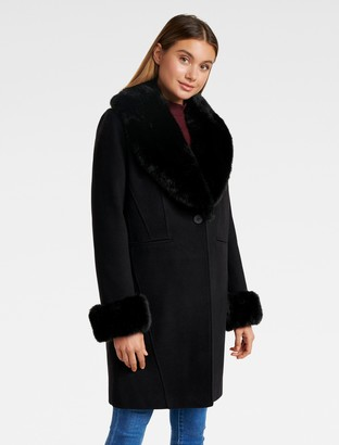 Ever New Aurora Fur Cuff Crombie Coat