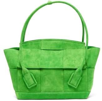 Bottega Veneta Arco 48 Medium Intrecciato Suede Bag - Womens - Green