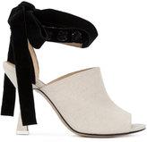 Attico - velvet bow mules - women - Leather/Canvas/Sequin - 39