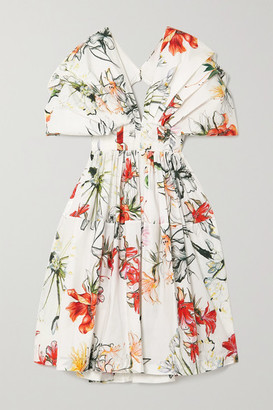 Alexander McQueen Asymmetric Ruffled Tiered Floral-print Cotton-voile Dress - Ivory