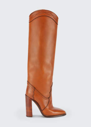 Saint Laurent Grace Leather Western Tall Boots