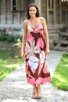 Floral Hand Painted Maxi Dress, 'Pink Floral Classic'