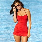 Allen B. Swim Dress, Cinch Front Shirred Bandeau