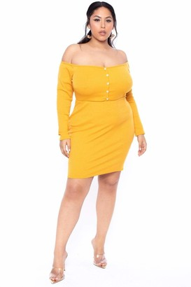 Curvy Sense Ribbed Off The Shoulder Dress in Ivory Size 1X