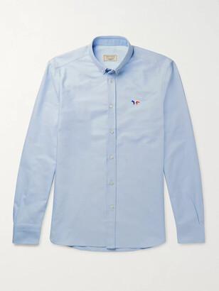 MAISON KITSUNÉ Slim-Fit Button-Down Collar Logo-Appliqued Cotton Oxford Shirt - Men - Blue
