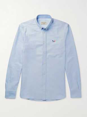 MAISON KITSUNÉ Slim-Fit Button-Down Collar Logo-Appliqued Cotton Oxford Shirt