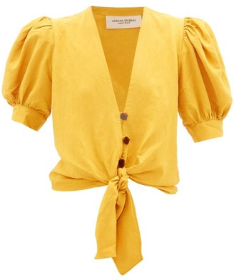 Adriana Degreas Tie-front Blouse - Womens - Yellow