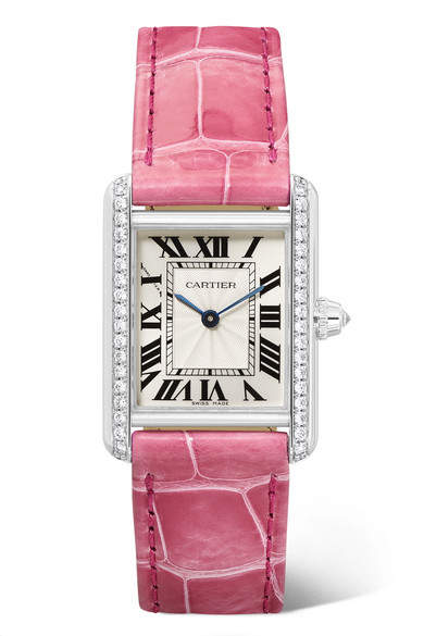 Cartier Tank Louis 22mm Small Rhodiumized 18-karat White Gold, Alligator And Diamond Watch