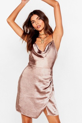 Nasty Gal Womens Don't Cowl Me Angel Satin Wrap Dress - Beige - 4
