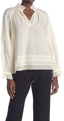 Sea Lace Trim Long Sleeve Peasant Top