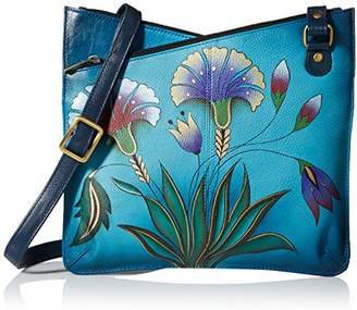 Anuschka Anna by Hand Painted Leather Women's V TOP MULTICOMPARTMENT Crossbody