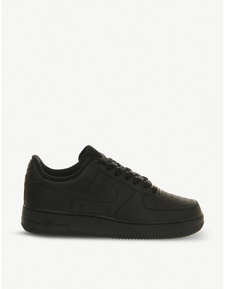 Nike Force 1 leather trainers, Women's, Size: 5.5, 12:00:00, Black