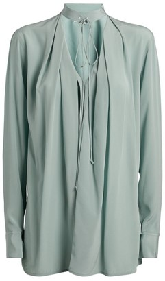 Victoria Beckham Silk Cut-Out Tie-Neck Blouse
