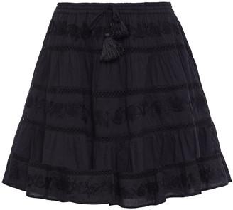 Melissa Odabash Anita Embroidered Cotton-gauze Mini Skirt
