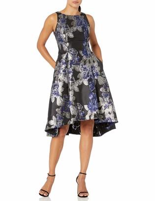 Adrianna Papell Women's Metallic Jacquard Hi Low Dress