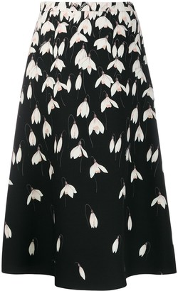 Valentino Snowdrop Print Crepe Couture Skirt