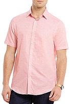 Hart Schaffner Marx Solid Linen-Blend Slub Short-Sleeve Woven Shirt
