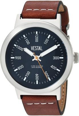 Vestal Men's Retrofocus Stainless Steel Japanese-Quartz Watch with Leather Strap