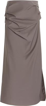 Georgia Alice Draped Wool-Blend Maxi Skirt