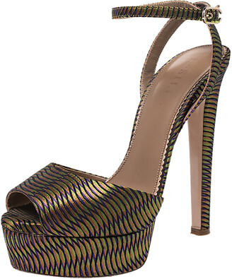 Le Silla Multicolor Fabric Peep Toe Ankle Strap Platform Sandals Size 38.5
