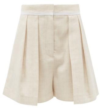 Stella McCartney Ariel Front-pleated Slubbed-blend Shorts - Beige