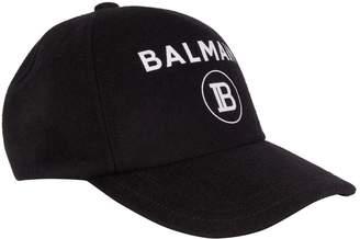 Balmain Wool-Cashmere Logo Cap
