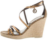 Burberry Metallic Multistrap Wedges