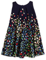 Helena Sleeveless Floral Crepe Swing Dress, Navy, Size 4-6