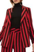 Topshop Women's Humbug Stripe Double Breasted Blazer