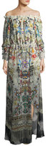 Camilla Off-the-Shoulder Printed Silk Maxi Dress