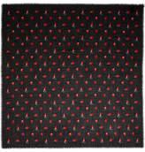 Saint Laurent Printed Wool-gauze Scarf - Black